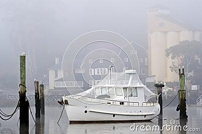 White boat with bird netting, Launceston, Tasmania