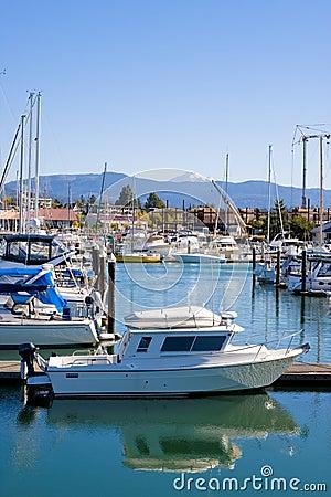 White Boat in Calm Blue Marina