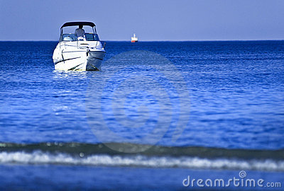 White boat on water