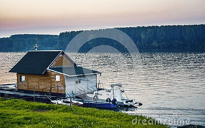 White Boat Beside Wooden House On Water Near Forest Free Public Domain Cc0 Image