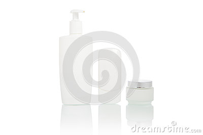 White bottles set (beauty hygiene container)
