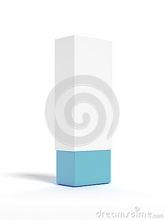 White box with blue bottom