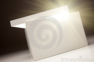 White Box with Lid Revealing Something Very Bright
