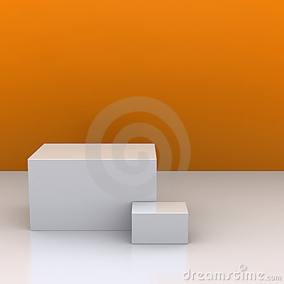 White boxes in the background of an orange wall