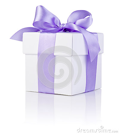 White boxs tied Purple satin ribbon bow Isolated