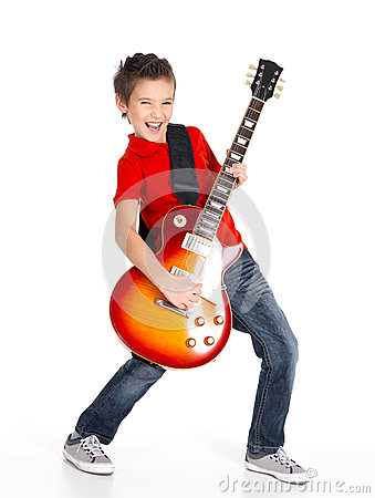 Free White Boy Sings And Plays On The Electric Guitar Royalty Free Stock Image - 28485366