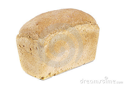 White bread loaf isolated on white