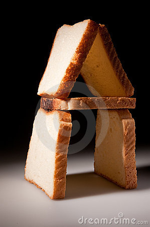 White bread slices house