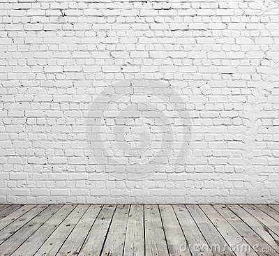 Free White Brick Wall And Wood Floor. Stock Image - 41960101