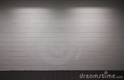 White Brick Wall Lights : White Brick Wall With Dim Lighting Royalty Free Stock Photography - Image: 17370757