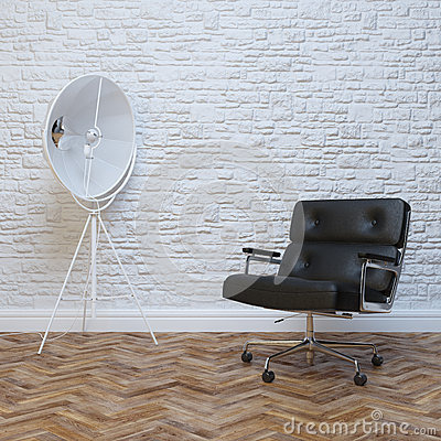 Free White Brick Wall Interior With Black Leather Office Armchair Royalty Free Stock Photos - 40747898