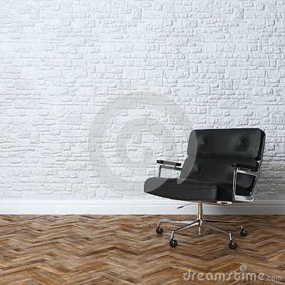 Free White Brick Wall Interior With Black Leather Office Armchair Royalty Free Stock Photo - 40747915