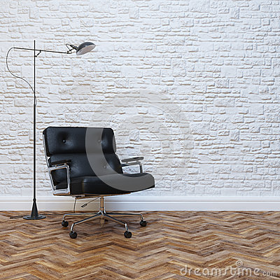 Free White Brick Wall Interior With Black Leather Office Armchair Stock Photo - 40747920