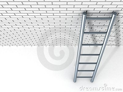 White brick wall and metal ladder
