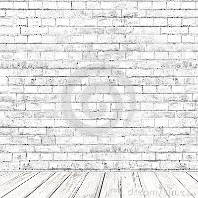 Free White Brick Wall Room With Wooden Floor Background Royalty Free Stock Photo - 30146365