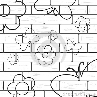 Free White Brick Wall With Flover And Butterfly Background Stock Photography - 61912612