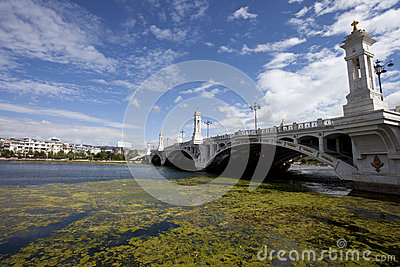 White bridge cross the river with bluesky