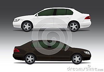 White and brown sedan car