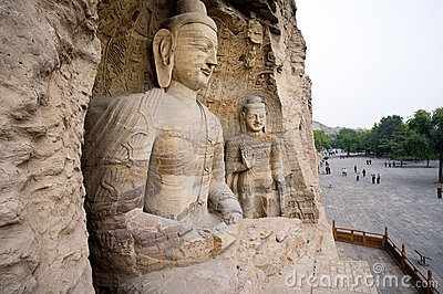White buddha cave of Yungang grottoes Editorial Photography