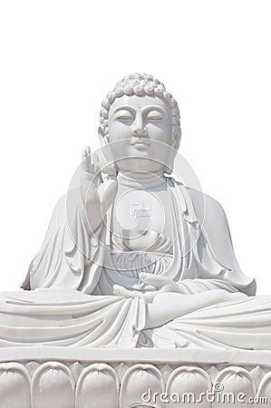 White Buddhist on isolated background