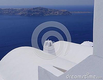 White buildings on Santorini island