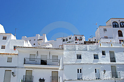 White buildings in traditional Spanish Pueblo