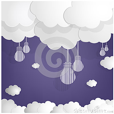 White bulbs and clouds on blue sky background