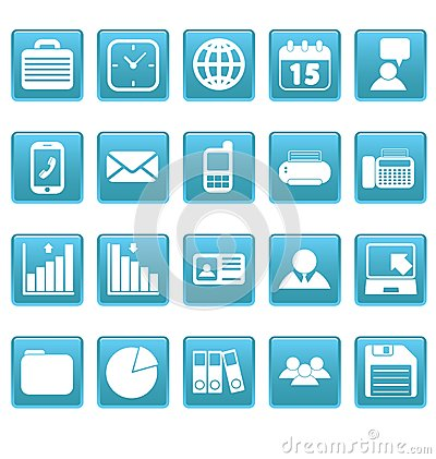 White business icons on blue squares