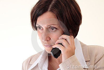 White businesswoman with handy, unhappy