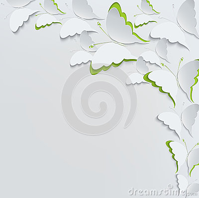 White butterflies on a white background