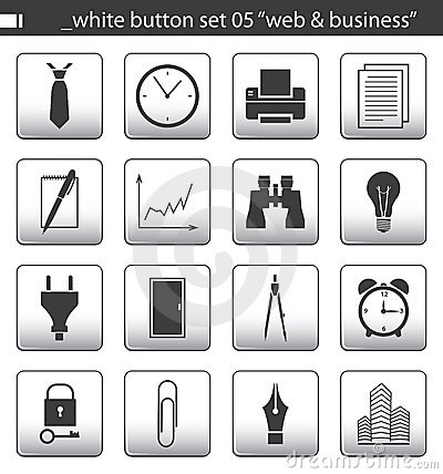 Free White Button Set 05 Royalty Free Stock Images - 1761499