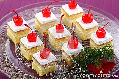 White Cake with cherries