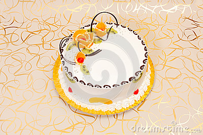White cake with fruits