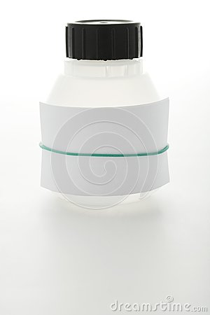 White can with sheet of paper