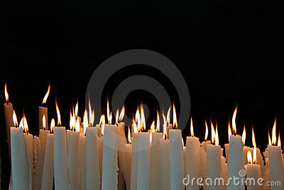 White Candle flames with black background