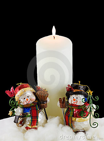 White Candle and Snowmen
