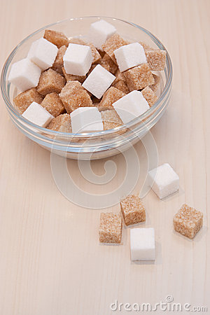 White and cane sugar