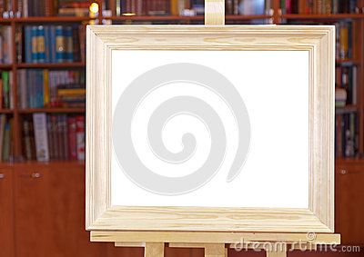 White Canvas Of Wide Wood Picture Frame On Easel Royalty Free Stock Images - Image: 28479509