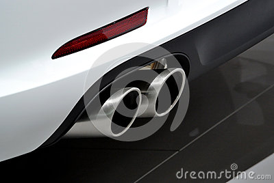 White car exhaust pipe
