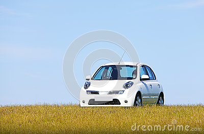 White car on a hill