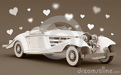 White car with love hearts - wedding