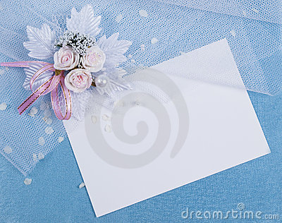 White card for congratulation on a  blue