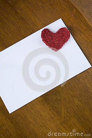 White card with red heart