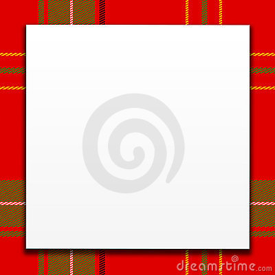White Card On Red Plaid