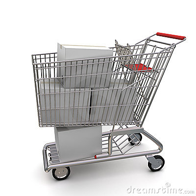 White cardboard box in the trolley