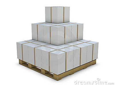 White cardboard boxes in group
