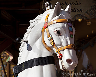 White Carousel Horse Head with Gold Bridle