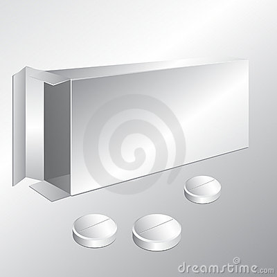Free White Carton Box And Pills Royalty Free Stock Photo - 21189445