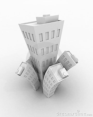 White Cartoon 3d Building growth, isolated