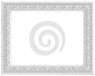 White carved frame for picture isolated on white